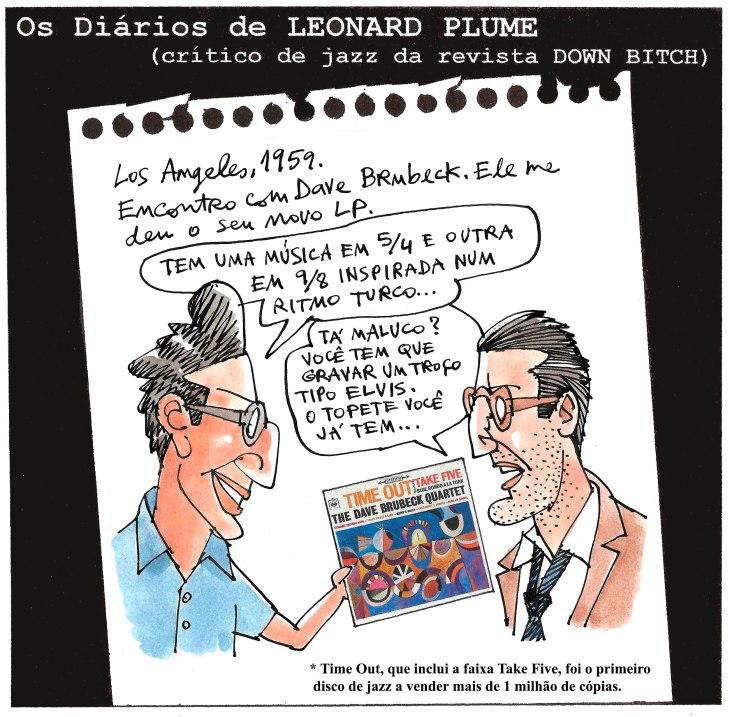 No ano que Time Out comemora seis décadas de seu lançamento, Reinaldo Figueiredo - nossa testemunha auricular da história - recorda este antológico encontro do músico com o crítico Leonard Plume, da Down Bitch
